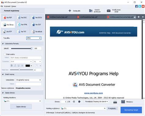 pliki format djvu avs document converter konwertuj pliki dokument 243 w do