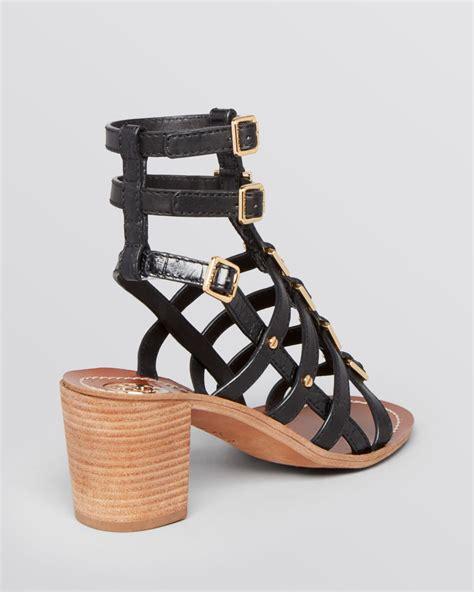 block heel gladiator sandals burch gladiator sandals reggie block heel in black lyst