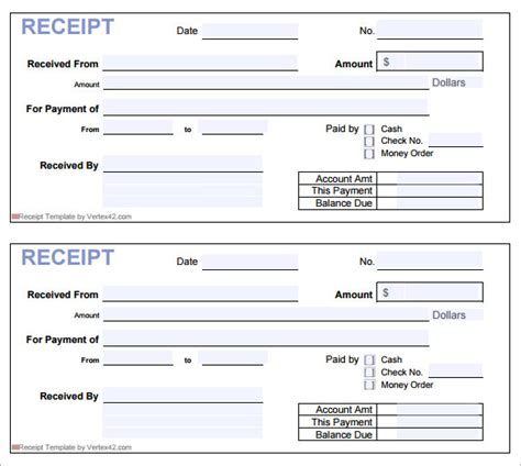 printable receipt template printable blank receipt sle