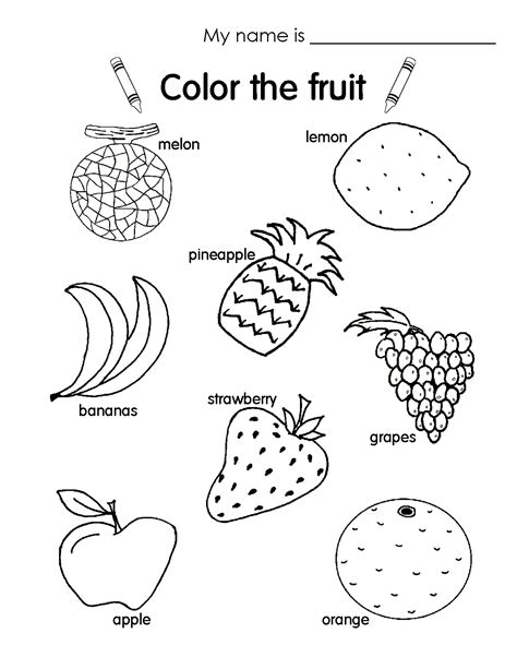 Fruit Worksheet Colouring Pages The Match Free Printable Coloring Pages