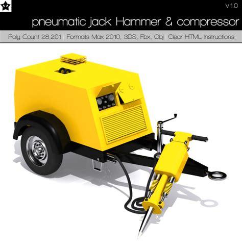pneumatic hammer and compressor by darkstardesigns 3docean