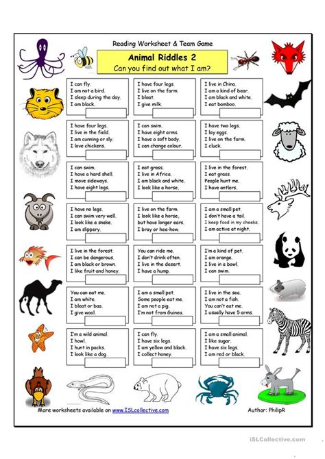printable animal riddles animal riddles 2 medium worksheet free esl printable