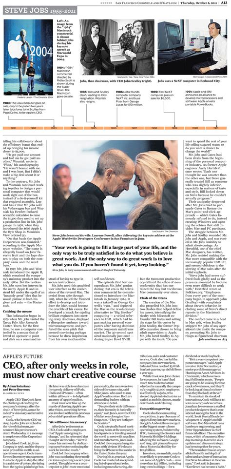 san jose mercury news obituary section how newspapers presented the death of steve jobs charles