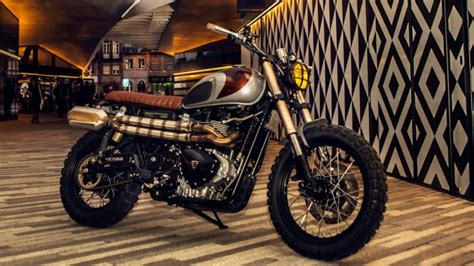 2 Car Garage Design custom triumph scrambler by ton up garage autoevolution