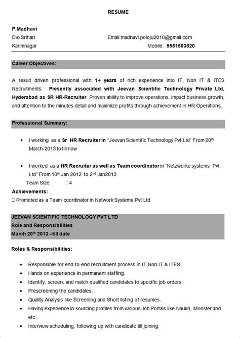 resume format for bpo experience on a resume template learnhowtoloseweight net