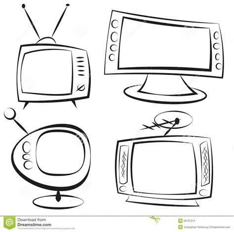 doodle tv retro television stock vector image 50767211