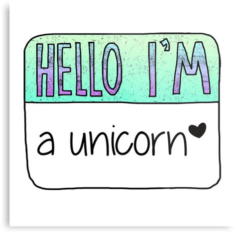 Name Wall Sticker quot hello i m a unicorn quot metal prints by poppetini redbubble