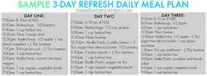 3 day refresh sample meal plan