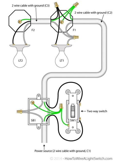 house light switch wiring 2 way switch with power feed via switch multiple lights how to wire a light switch