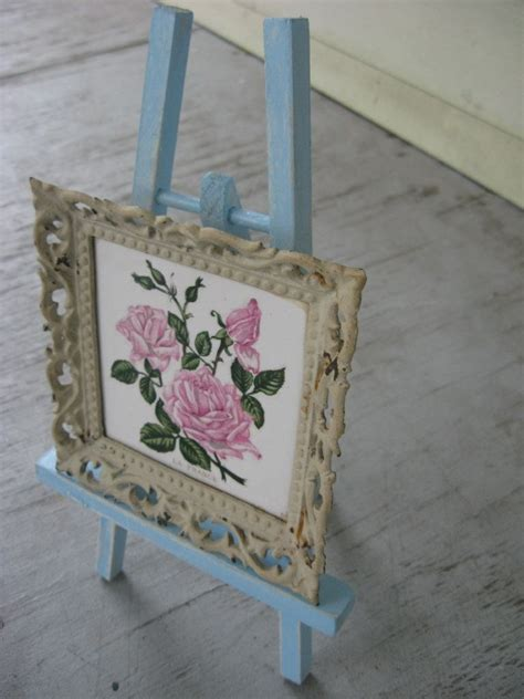Shabby Cottage Chic Robins Egg Blue Wood Mini Easel Shabby Chic Easel