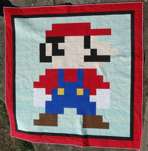 Mario Quilt by The Elven Garden Mario Quilt Finish Kona Cotton