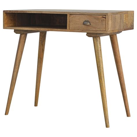 Solid Wood Writing Desk With Drawers by Solid Wood Open Shelf 1 Drawer Writing Desk Loch Ness