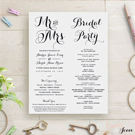 16 wedding order of service templates free sle
