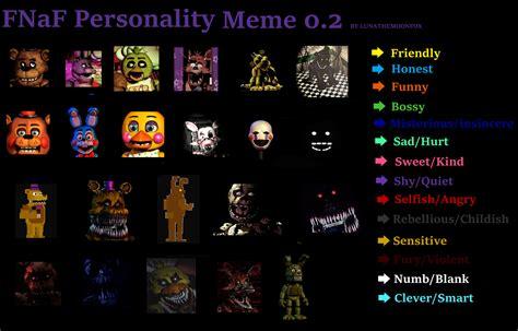 Personality Meme - fnaf personality meme 0 2 by lunathemoonfox on deviantart
