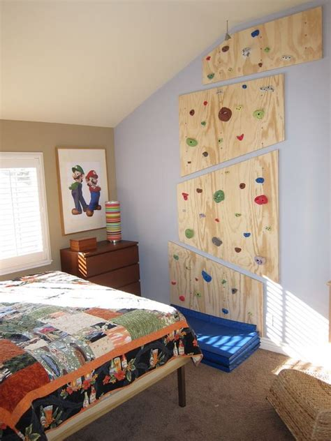 rock climbing bedroom remodeled my son s room with a custom platform bed and a