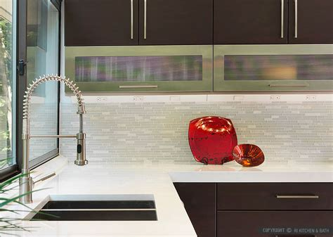 modern espresso kitchen marble glass backsplash