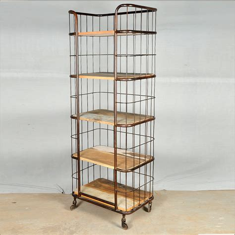 industrial reclaimed wood iron rolling storage
