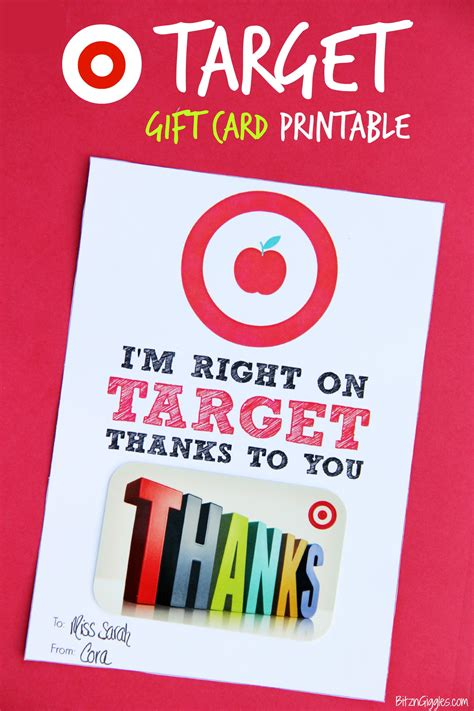 Printable Gift Cards Target - target gift card printable teacher appreciation bitz giggles