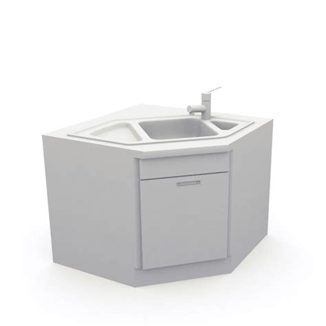 White Kitchen Sink 3d Model Cgtrader Com Kitchen Sink Models