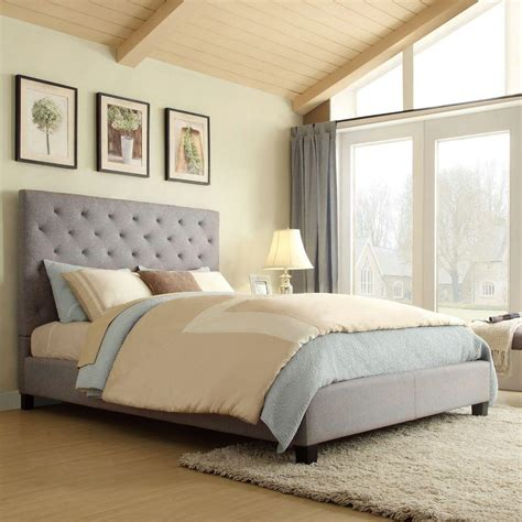 gray upholstered bed homesullivan toulouse grey queen upholstered bed