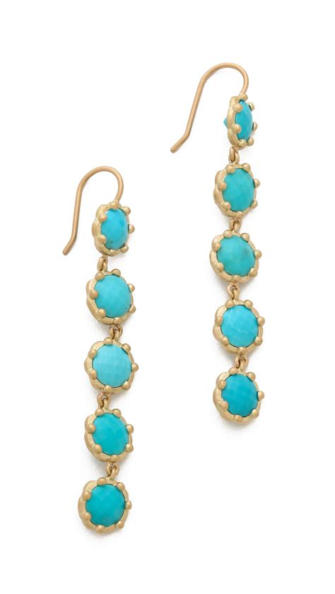 wolf tiered turquoise earrings gold in metallic lyst