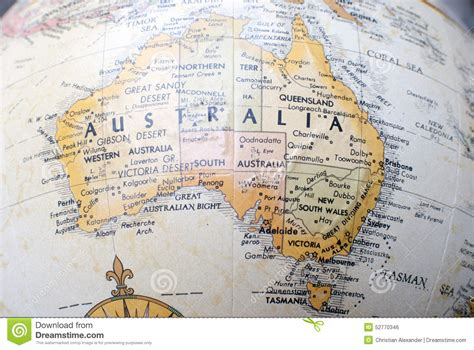 australia globe map map of australia on a world globe stock photo image