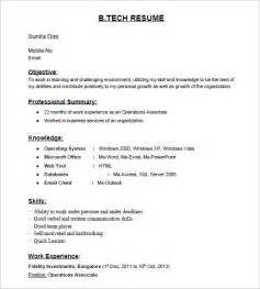 Resume Format For Freshers B Tech Aeronautical Fresher It Resume Sle