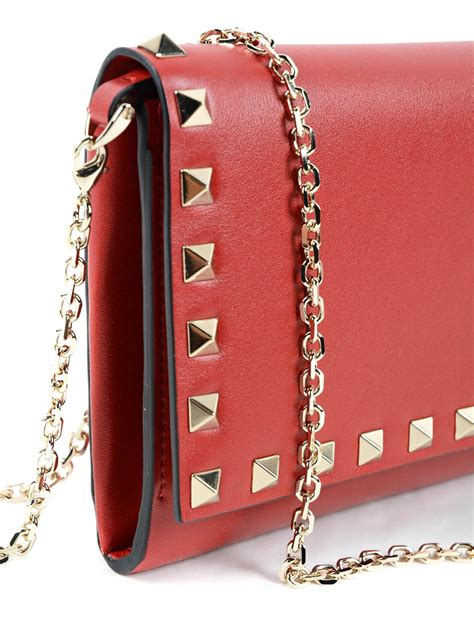 Studded Wallet leather studded wallet with chain by valentino garavani