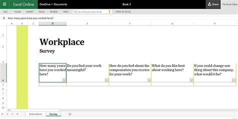 Workplace Survey Template For Excel Online Microsoft Excel Survey Template