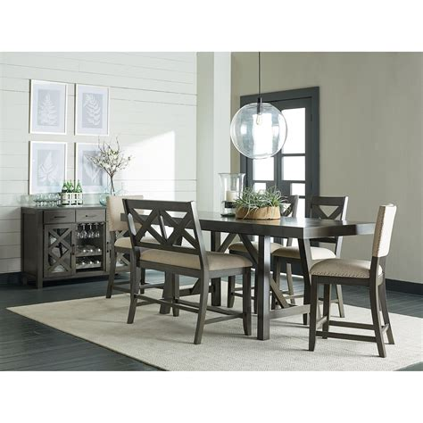 6 piece counter height dining set with bench 6 piece counter height trestle table dining set by
