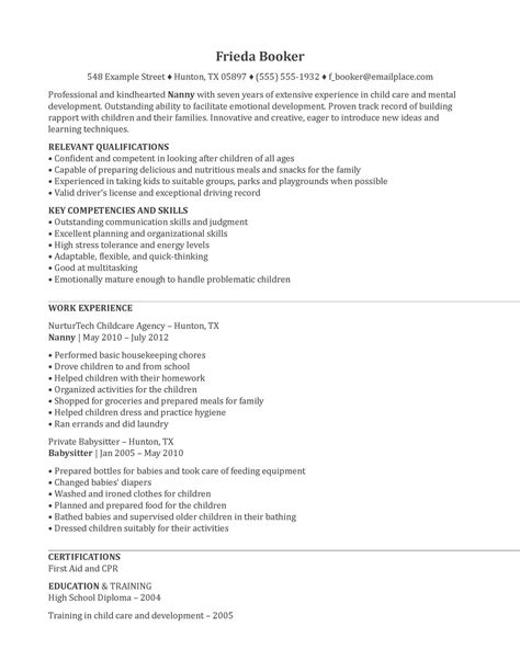 resume format resume exles nanny experience