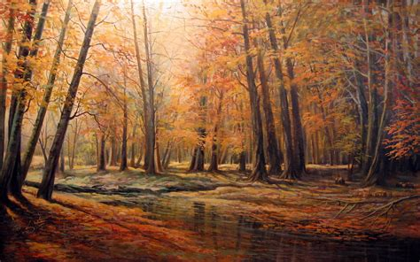 painting images autumn forest creek painting wallpapers autumn forest
