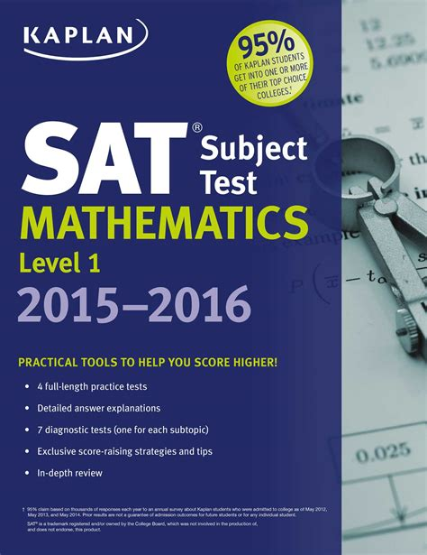 sat math tests prep course books kaplan sat subject test mathematics level 1 2015 2016