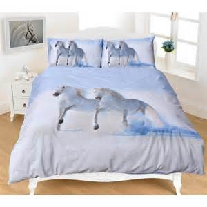 White Double Duvet Cover Set White Horses Doona Set Filly And Co