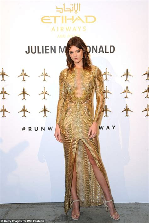 Frock Horror Of The Week Catwalk 11 by Montana Cox Sizzles In Gold Gown At New York Fashion Week