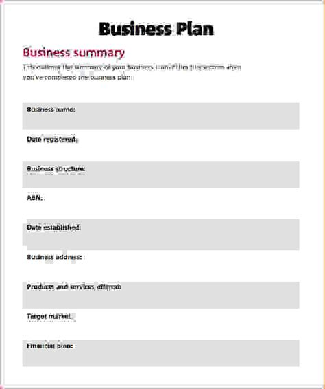 simple business plan template free 8 simple business plans procedure template sle