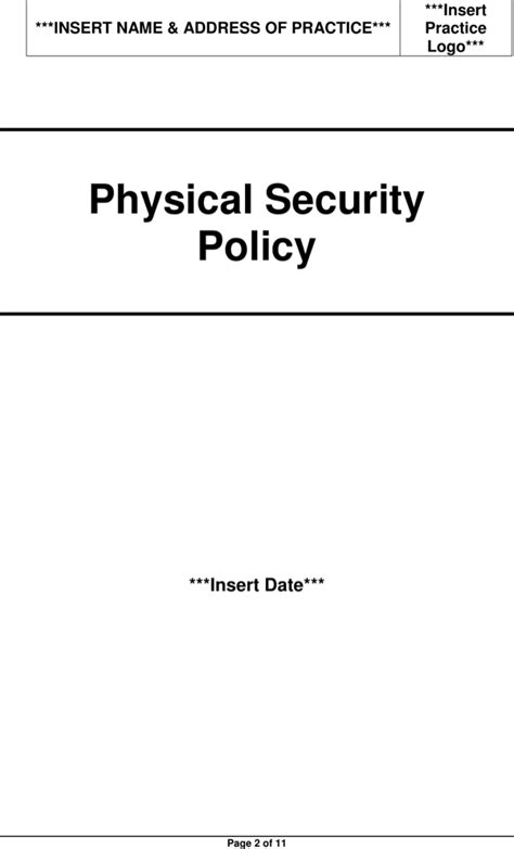 Download Physical Security Policy Template For Free Page 2 Formtemplate Physical Security Policy Template