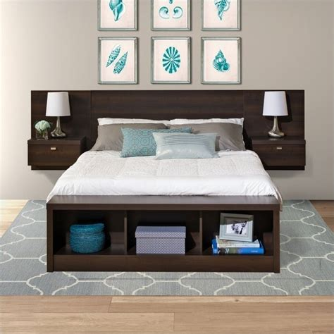 headboard with storage platform storage bed with floating headboard in espresso