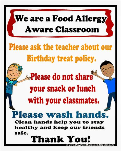 printable allergy poster thriving with allergies peanut tree nut free classroom