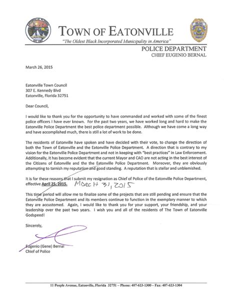 Resignation Letter For Chief Fdle Investigating Eatonville S New Mayor
