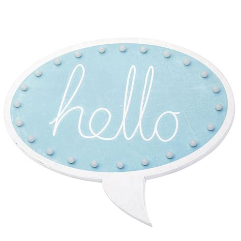 Home Interiors And Gifts Catalog hello speech bubble wall light blue from litecraft