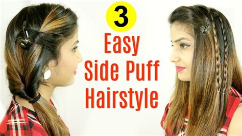 puff hairstyles for party messy ponytail side puff hairstyle easy hairstyles for
