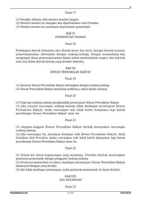 Undang Undang Dasar 1945 Hasil Amandemen Ke 4 undang undang dasar 1945 sebelum amandemen