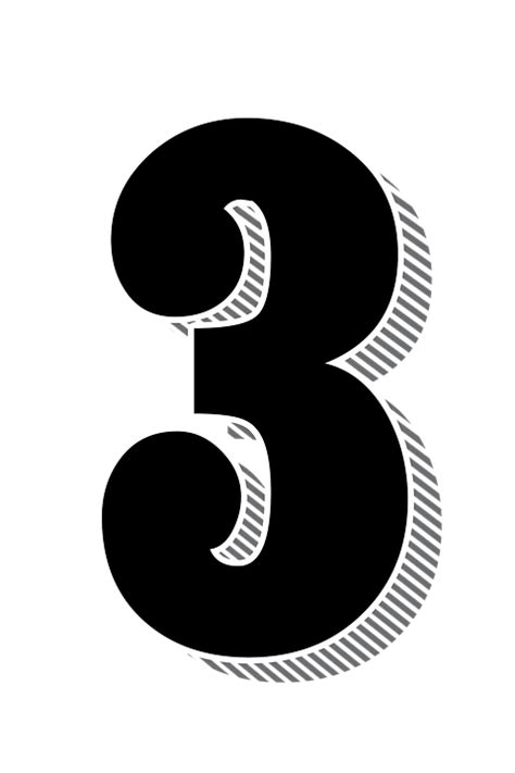 number 3 typography free illustration numbers three 3 drop shadow free