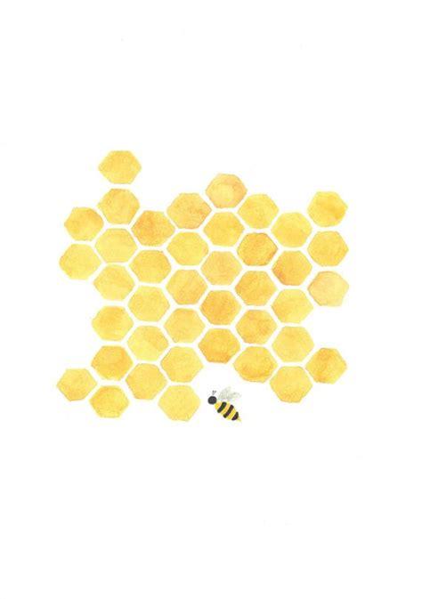 honeycomb pattern art printable yellow honeycomb bee painting nursery by