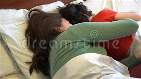 mom son bedroom single mother and son sleeping together stock footage