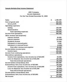 Multi Step Income Statement Excel Template by Income Statement Free Pdf Excel Word Documents