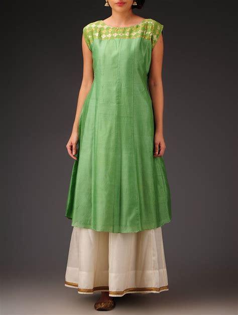 yoke pattern kurti buy green sleeveless chanderi kurta with brocade yoke