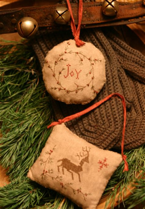 homespun christmas pinkeep ornaments