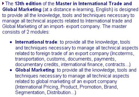master di commercio master commercio e marketing internazionale distanza